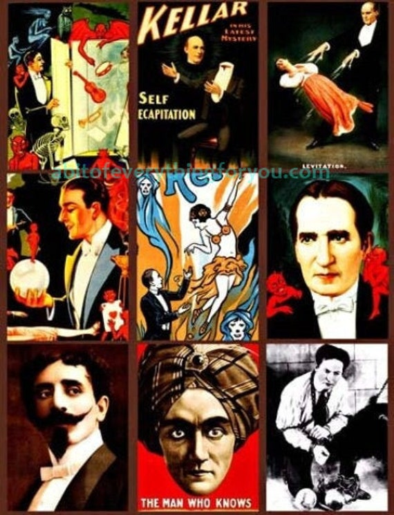 """vintage magicians Houdini Keller Thurston Faust magic show collage sheet digital download 2.5"""" x 3.5"""" images printable aceos"""