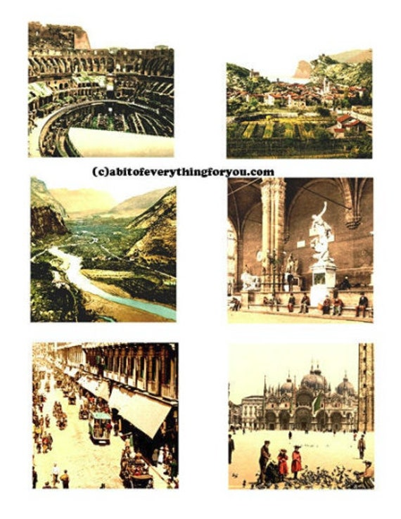 """Vintage pictures and Art Of Italy collage sheet 3"""" inch squares images clip art digital downloadable graphics images diy crafts cards tags"""