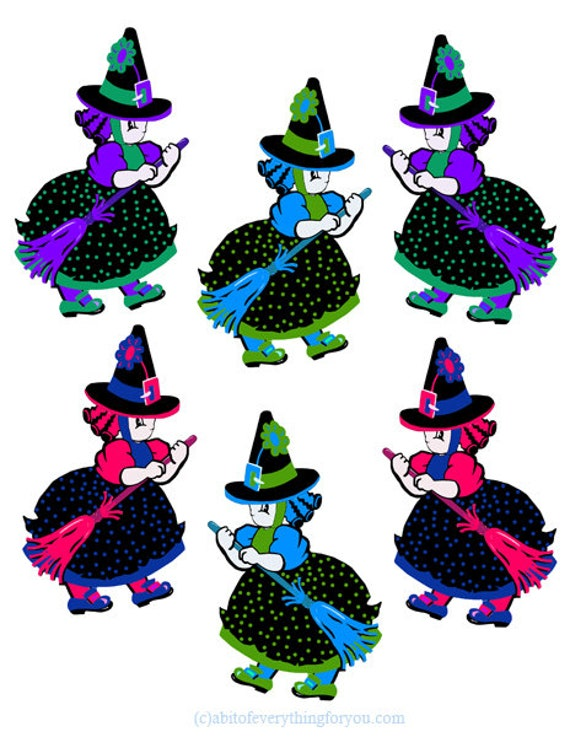 halloween little witch girls cut outs die cuts clipart png digital download printable downloadable graphics kids crafts collage sheet