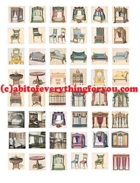 vintage victorian furniture art clip art collage sheet 1 inch squares graphics images digital download pendant magnets pins craft printables
