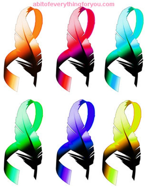 cancer feather ribbons collage die cuts clipart png printable art download digital image graphics downloadable artwork