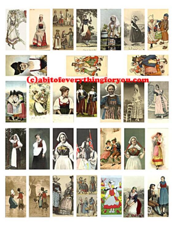 "European dutch swedish people gypsies domino downloadable collage sheet 1"" x 2"" graphics digital download vintage images pendants printable"