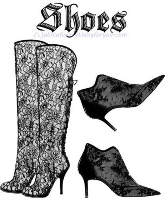 lace victorian gothic boots shoes art printable clipart png digital downloadable image graphics black and white goth fashion art