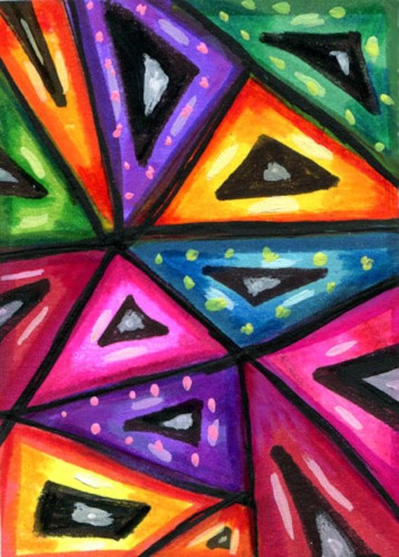 TRIANGLES dots ABSTRACT aceo ATC Art original painting geometric shapes mini art