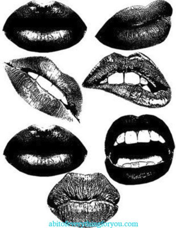 lips and black lipstick printable makeup art collage clipart downloadable digital download art image graphics beauty cosmetics prints