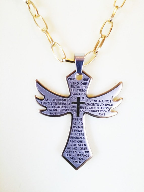 stainelss steel gold cross pendant necklace lords prayer spanish handmade gold chain unisex mexican jewelry