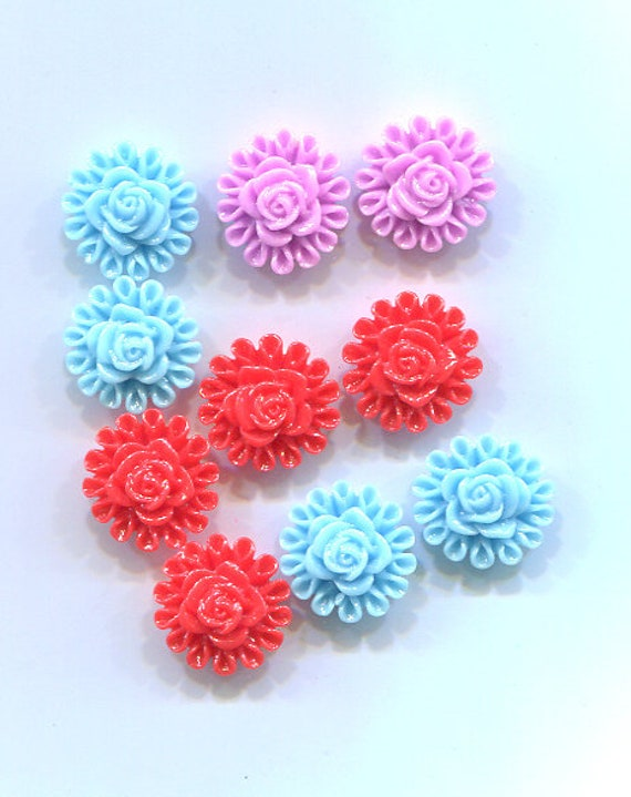 rose flower cabochons cabs plastic Embellishments 10mm 10 piece blue purple red Mixed lot