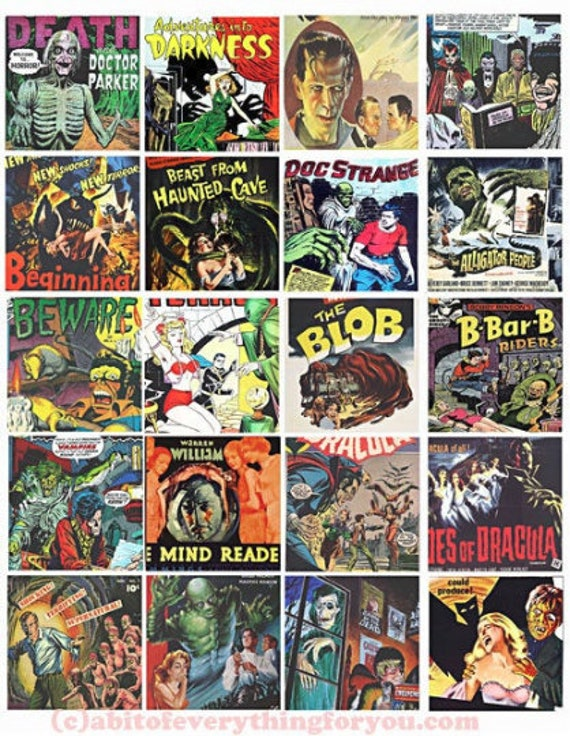 vintage horror movies posters comics monsters creatures clip art collage sheet 2 inch squares digital instant download printable images