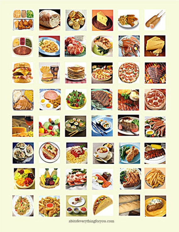downloadable collage sheets food eating meals clip art download 1 inch squares printable  for pendants magnets, bezel settings