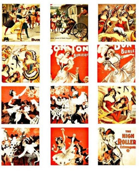 1800s burlesque dancers show girls vintage art clipart digital download collage sheet 2.25 inch squares graphics images printables