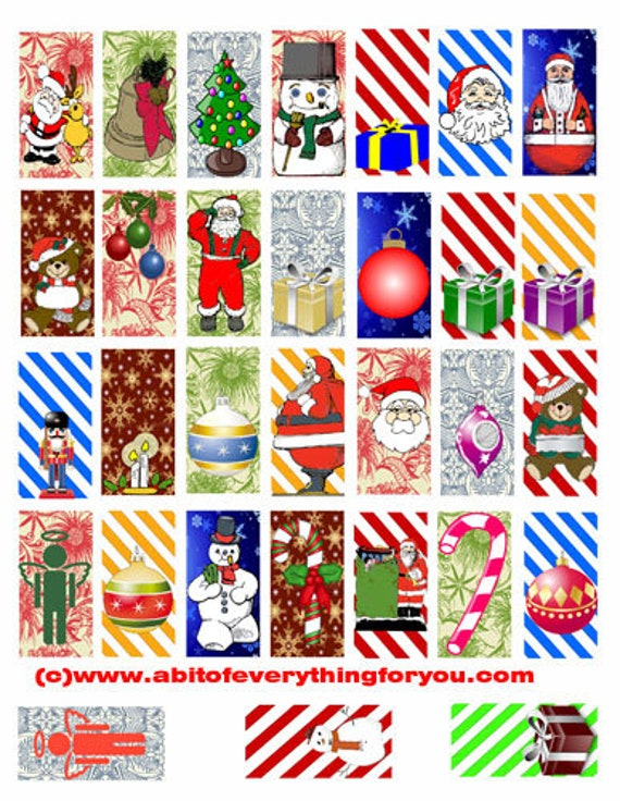 "christmas santa present candy cane stripes clipart digital download domino collage sheet 1"" x 2"" inch graphics image printables for pendants"