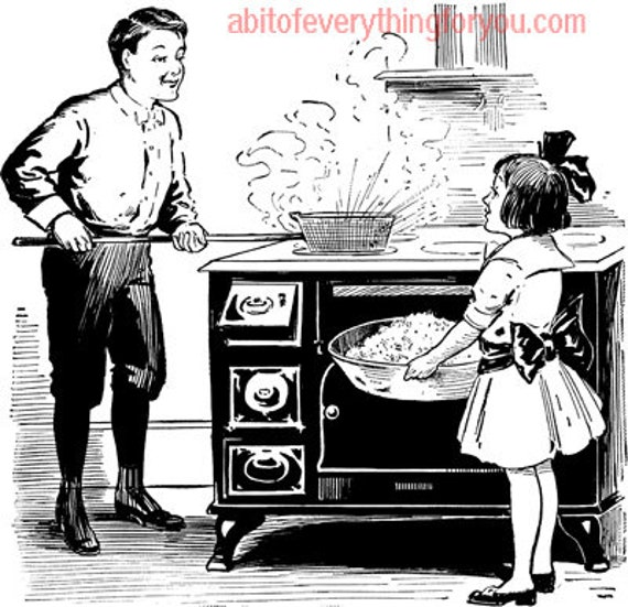 father daughter making popcorn printable vintage wall art download clipart digital image jpg png downloadable graphics home living room
