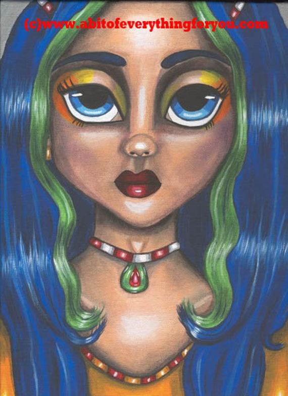 Sugar plum big eye Fairy girl print fantasy original Art painting big eyes 8 x 10 low brow blue green, modern art,