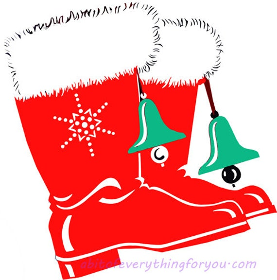 red christmas santa boots shoe clipart png printable holiday fashion art download digital image downloadable graphics