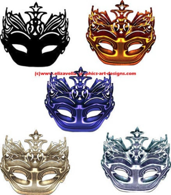 mardi gras masks clipart five colors metallic black silhouette PNG files Digital Image Download clip art graphics craft printables