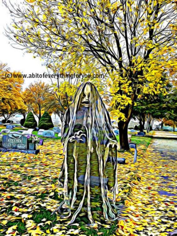 Child Spirit In Cemetery Spooky Art Poster printable art print original abstract art digital download graphics images landscape graveyard