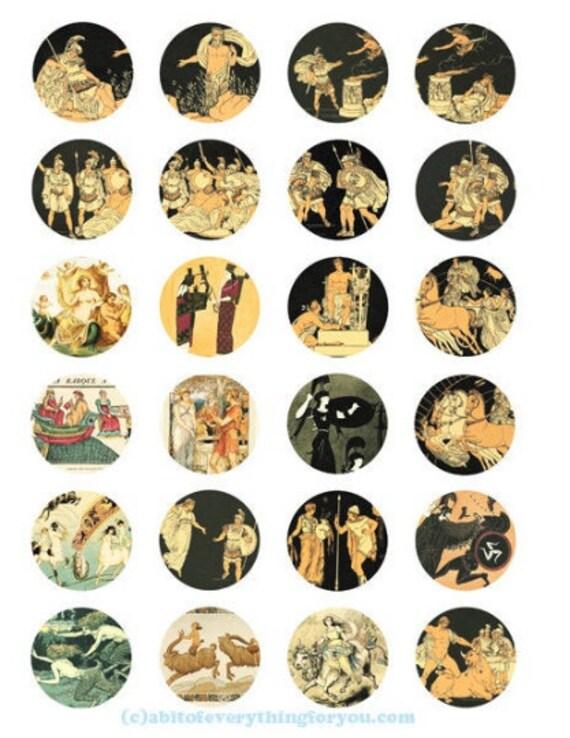 printable digital collage sheet vintage mythology fairytale art clipart 1.5 inch circles images printables pendants diy jewelry
