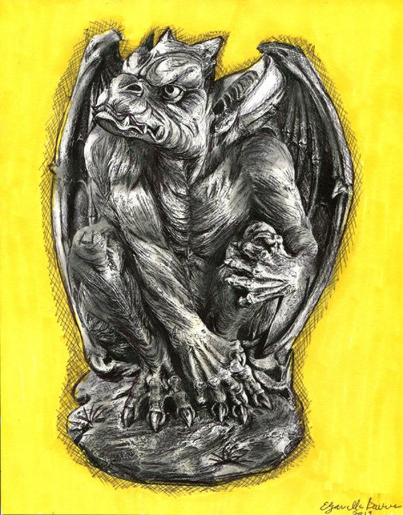 ORIGINAL gargoyle dragon pen ink drawing fantasy beasts fairytale illustration