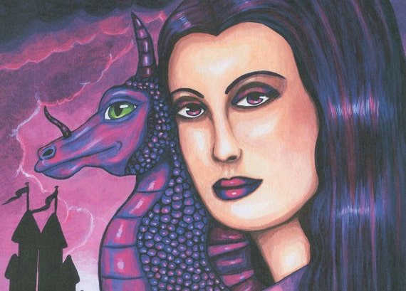 purple Queen Mother of Dragons original art print paintings modern fantasy fairytales clouds sky castle