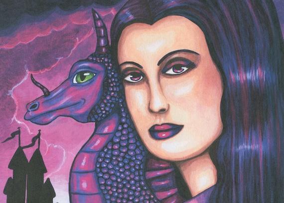 purple Queen Mother of Dragons original art print paintings modern fantasy fairytales clouds sky castle
