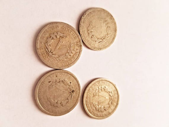 4 liberty V nickel coins from 1906 1907 1911 1910 antique coin collection