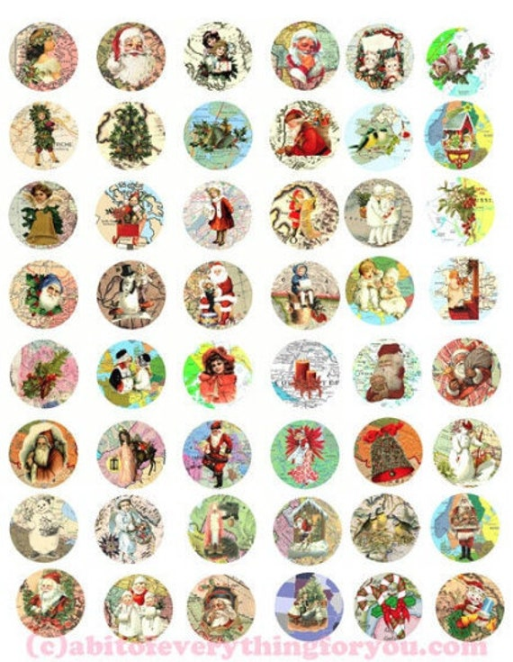 """CHRISTMAS around the WORLD MAPS clipart digital download collage sheet 1"""" circles downloadable graphics printable images diy pendants"""