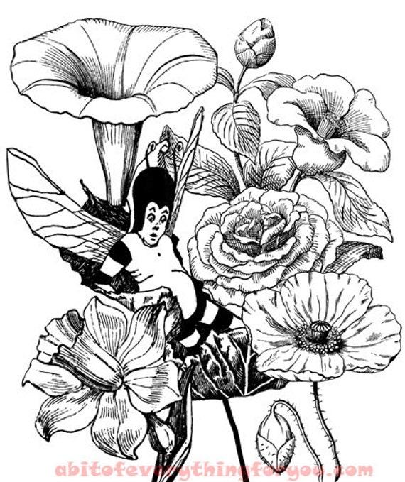 fairy boy flowers art coloring page fantasy clipart printable digital download fairytale graphics images downloadable line art