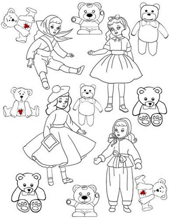 printable coloring page digital download dolls teddy bears toys line art graphics downloadable