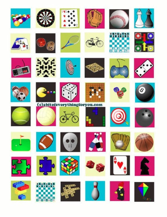 board games toys clip art collage sheet 1 inch squares graphics images digital download pendant magnets pins craft printables