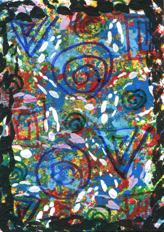Messages from The Ancients abstract original aceo art painting modern colorful miniature art acrylics markers mixed media