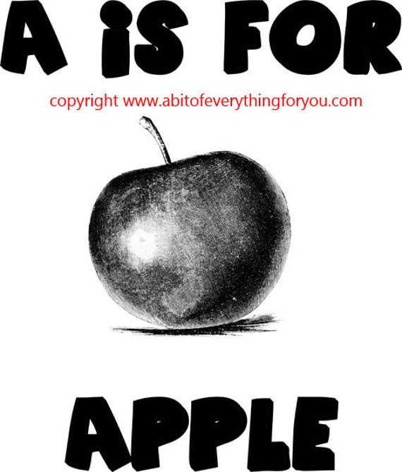 A Is For Apple alphabet art printable clipart png digital download image graphics black and white digital stamp