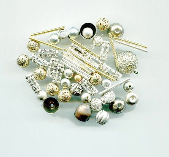 55 metal beads LOT round tube bead mixed lot silver & gold tone filigree beads jewelry craft supplies
