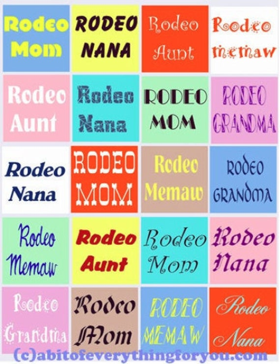 Cowgirl Rodeo Sayings for mom aunt grandma digital collage sheet downloadable clipart 2 inch squares images diy jewelry making crafts