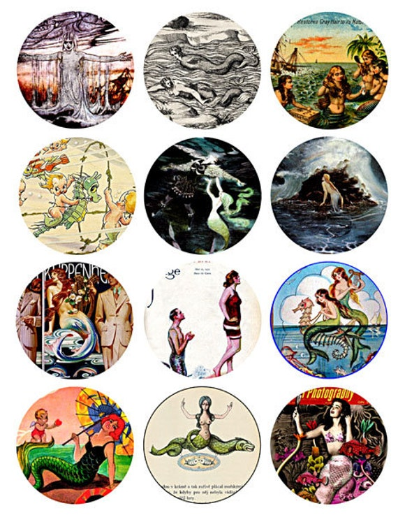 download collage sheet sea nymphs mermaids sirens vintage art clip art digital 2.5 inch circle images craft pendant pins magnet printable