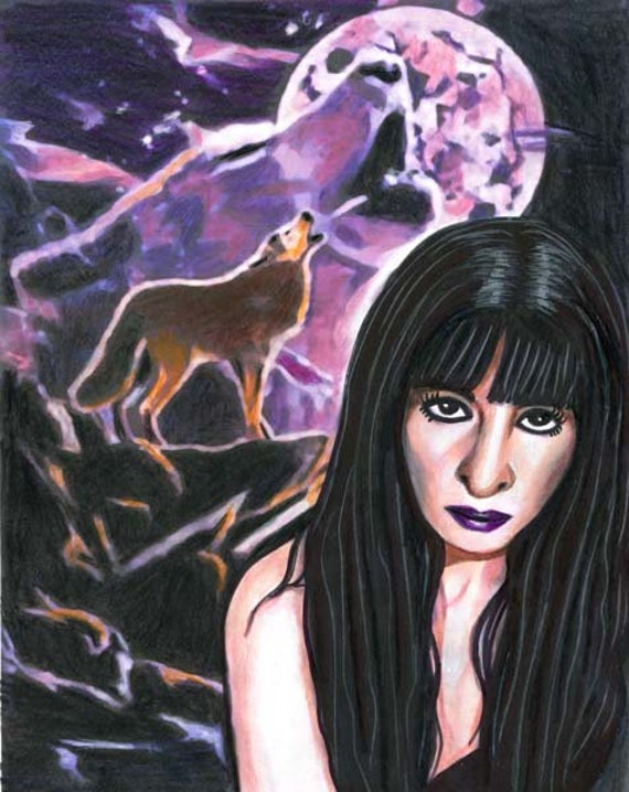 Werewolf Native American Indian woman wolf pack alpha original art drawing colored pencils wolves modern horror lycans monsters