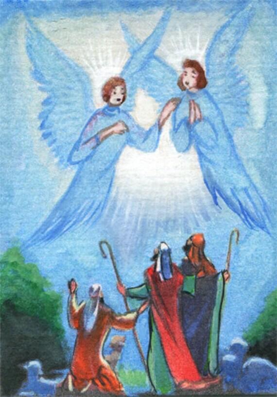 Angels 3 Wise men original painting aceo art christmas watercolors religious art