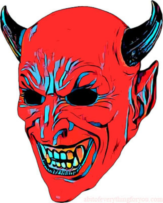 red devil demon mask clipart png digital download image printable wall art Halloween downloadable cut out for crafts DIY Cards Scrapbooking