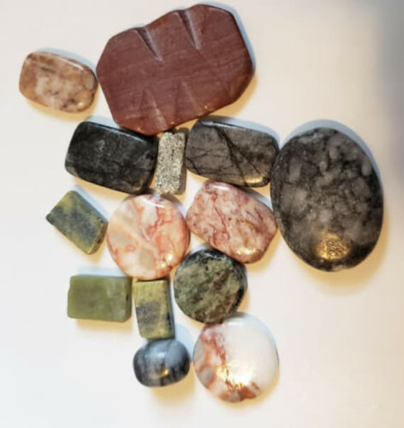 14 assorted stone beads mixed lot gemstone pendants natural marble turquoise