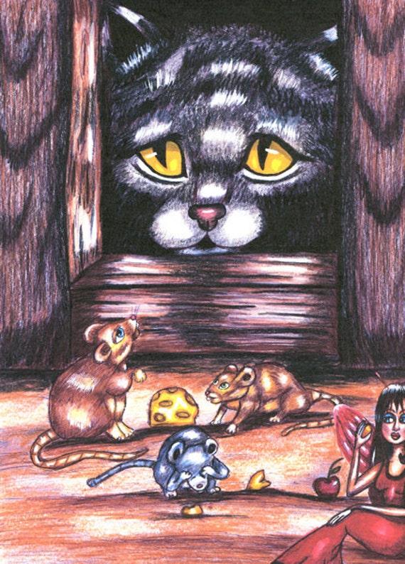 gray Cat original art drawing print, mice animal art,  original drawings, fantasy original artwork, fairy folk tale modern art, wall art