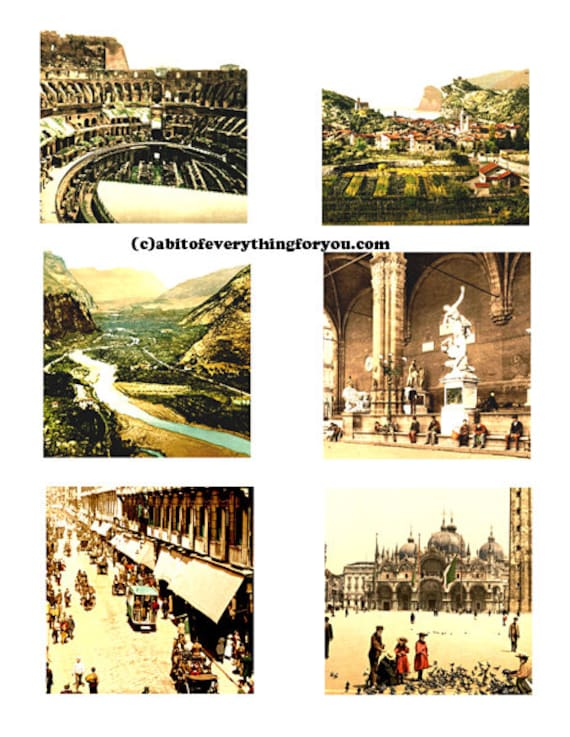"Vintage pictures and Art Of Italy collage sheet 3"" inch squares images clip art digital downloadable graphics images diy crafts cards tags"