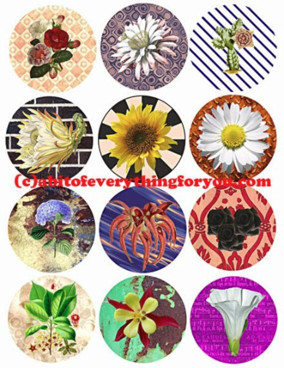 flowers abstract patterns collage sheet 2.6 inch circles clipart Printable Download print-it-yourself Digital Sheet crafts scrapbooking
