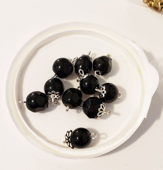 black glass bead drops 10 piece charms pendants supplies findings jewelry making supply