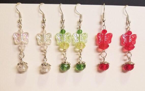 3 pr butterfly bead drop earrings lot dangles wholesale jewelry bead drops red green