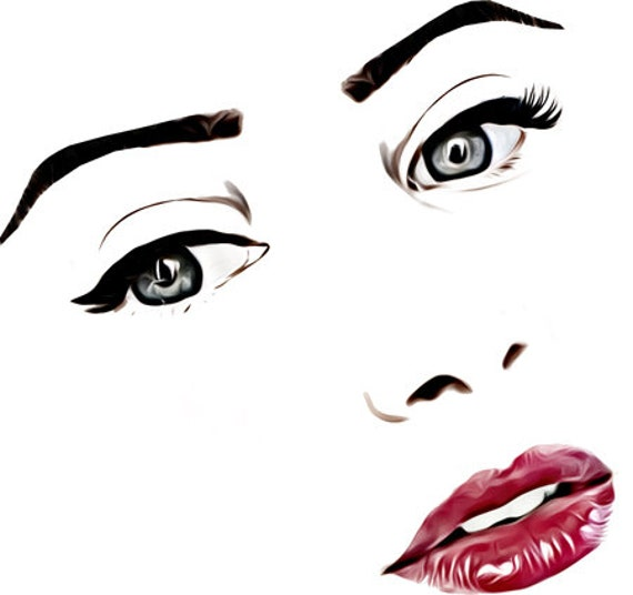 womans face gray eyes long lashes red lips makeup clipart png printable wall art digital download pinup girl graphics images