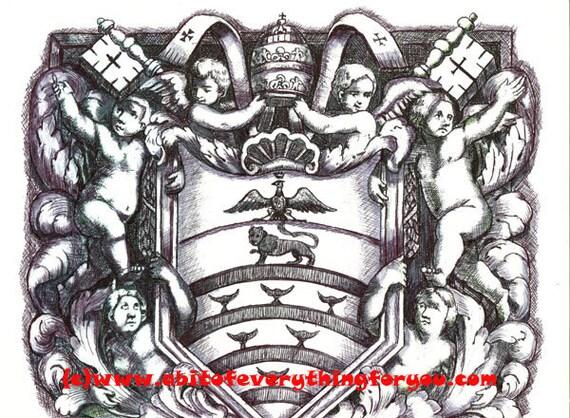 "angels cherubs shield original art drawing crest baroque leaves pen ink 8.5"" x 11"" coat of arms fantasy artwork By Elizavella"