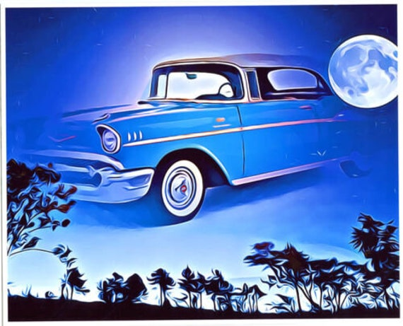 classic car abstract original art print vintage antique cars abstract landscape automobiles gifts for him night sky moon heaven man cave art