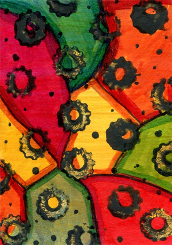 black gears abstract painting original aceo art acrylics miniature steampunk modern small painting