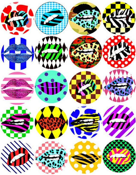 digital downloadable collage sheet lips lipstick makeup printables animal geometric patterns clipart 2 inch circle images DIY jewelry making