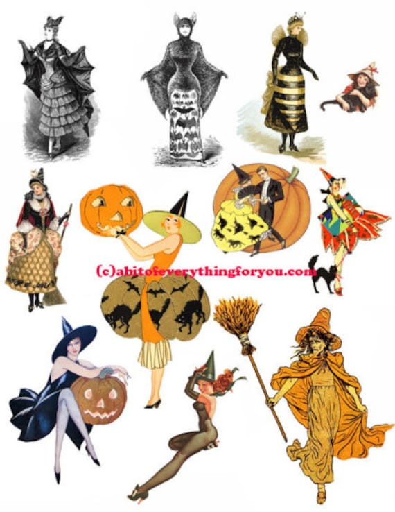 vintage halloween witches witch paper dolls clipart digital instant download craft printables collage graphics images DIY scrapbooking