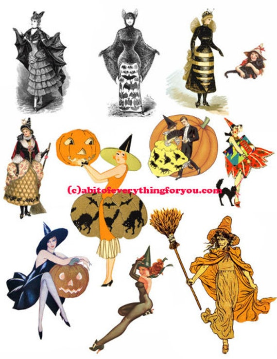 vintage halloween witches witch die cuts clipart digital instant download craft printables cut outs collage graphics images DIY scrapbooking